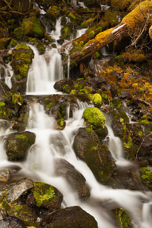 Cascade of water over boulders and moss from snow melt in spring from the Chugach Mountains bordering Eyak Lake in Cordova in Southcentral Alaska. Morning.