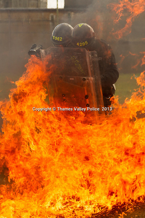 As part of the transition to video only evidence gathering in public order situations, Thames Valley Police conduct training of their Evidence Gathering Teams. TVP has moved to using video only in line with other Forces, as modern equipment can provide high resolution still captures without the need for a dedicated camera.  Oxford, UNITED KINGDOM. March 12 2013. <br /> Photo Credit: MDOC/Thames Valley Police<br /> &copy; Thames Valley Police 2013. All Rights Reserved. See instructions.