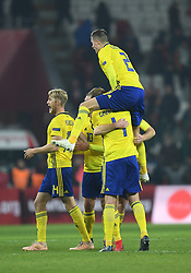 November 17, 2018 - Konya, Türkiye - Sweden players celebrate goal during Turkey vs. Sweden UEFA Nations League, League B game at Konya, Turkey, 17th Nov., 2018 (Credit Image: © Abdurrahman Antakyali/Depo Photos via ZUMA Wire)