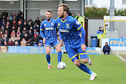 Callum Kennedy defender for AFC Wimbledon (3)in action during the Sky Bet League 2 match between AFC Wimbledon and Crawley Town at the Cherry Red Records Stadium, Kingston, England on 16 April 2016. Photo by Stuart Butcher.