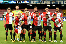 September 26, 2017 - Naples, Naples, Italy - (BL-R) Steven Berghuis of Feyenoord, keeper Brad Jones of Feyenoord, Jens Toornstra of Feyenoord, Renato Tapia of Feyenoord, Kevin Diks of Feyenoord, Jeremiah St. Juste of Feyenoord (FL-R) Karim El Ahmadi of Feyenoord, Sofyan Amrabat of Feyenoord, Jean-Paul Boetius of Feyenoord, Ridgeciano Haps of Feyenoord, Tonny Vilhena of Feyenoordduring the UEFA Champions League Final match between SSC Napoli and Feyenoord at Stadio San Paolo Naples Italy on 27 September 2017. (Credit Image: © Franco Romano/NurPhoto via ZUMA Press)