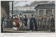 Splendid Jem', once a dashing hero in the Metropolis, recognised by Tom amongst the convicts in the Naval Dock Yard at Chatham'. Illustration by Robert Cruikshank for Pierce Egan 'Life in London', 1821. Aquatint. Prisoners housed in hulks (on River Medw