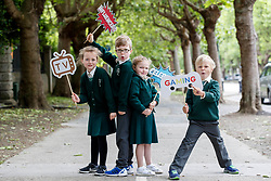Repro Free: 07/06/2017 Aoibheann Clancy (7), Michael O' Neill (7), Emma Lidierth (7) and Henry Cronin (7) pupils of St. Vincent de Paul Infant School, Griffith Avenue, Dublin are pictured as safefood launch a new free educational resource to help teach primary schoolchildren about the media, advertising and fake news. The launch was also attended by the Minister for Education and Skills, Richard Bruton T.D.. Picture Andres Poveda<br /> <br /> ENDS<br /> Media contact <br /> Emma Walsh, T: 087 317 0897 or E: emma.walsh@ogilvy.com