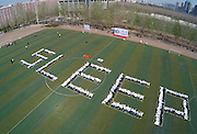 ZHENGZHOU, CHINA - MARCH 21: (CHINA OUT) <br /> <br /> 2015 World Sleep Day In China<br /> <br /> People celebrate the World Sleep Day  in Zhengzhou, Henan province of China. An pillow fight activity with the theme of  Healthy Sleep was held at a college in Zhengzhou. <br /> ©Exclusivepix Media
