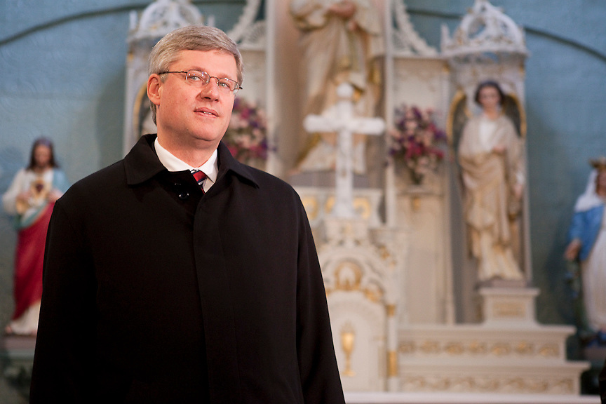 MONTREAL, QUE.: October 30, 2010--  Canadian Prime Minister Stephen Harper tours Brother Andre's Chapel with Father Claude Grou, Rector of Montreal's St. Joseph Oratory   Saturday October 30, 2010.  (PHOTO BY TIM SNOW, www.timsnowphotography.com)
