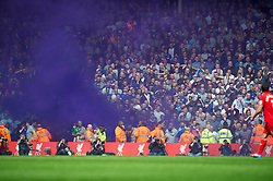 05.05.2013, Anfield, Liverpool, ENG, Premier League, FC Liverpool vs FC Everton, 36. Runde, im Bild Everton supporters set off a purple smoke bomb during the English Premier League 36th round match between Liverpool FC and Everton FC at Anfield, Liverpool, Great Britain on 2013/05/05. EXPA Pictures © 2013, PhotoCredit: EXPA/ Propagandaphoto/ David Rawcliffe..***** ATTENTION - OUT OF ENG, GBR, UK *****