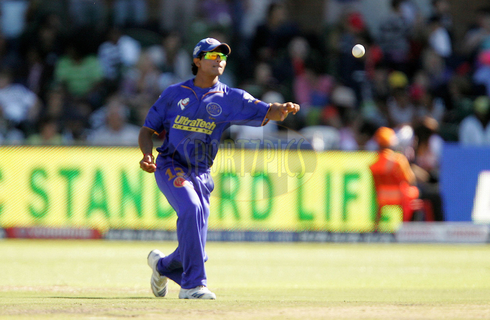 PORT ELIZABETH, SOUTH AFRICA - 02 May 2009. Ravindra Jadeja fields during the  IPL Season 2 match between the Deccan Chargers and the Rajatshan Royals held at St Georges Park in Port Elizabeth , South Africa..