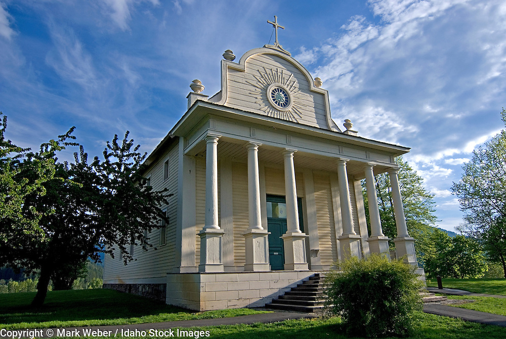 The Cataldo Mission at Cataldo Mission State Park near the town of Cataldo in northern Idaho