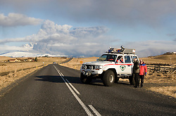 Emergency workers block the road leading to the cloud of ash from the Eyjafjallajoekull erupting volcano in Iceland. .©2010 Michael Schofield. All Rights Reserved.