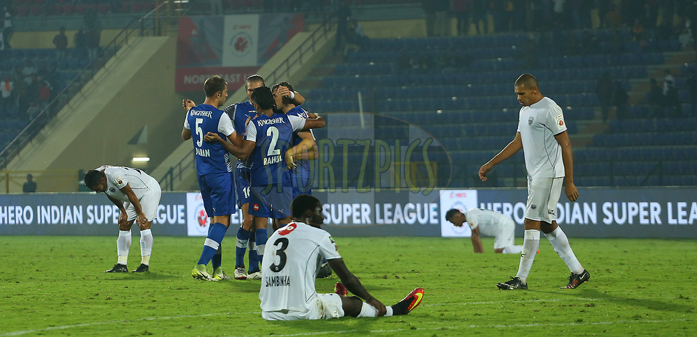 Bengaluru FC celebrate the win during match 19 of the Hero Indian Super League between NorthEast United FC and Bengaluru FC held at the Indira Gandhi Athletic Stadium, Guwahati India on the 8th December 2017<br /> <br /> Photo by: Ron Gaunt / ISL / SPORTZPICS