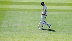 Dejection for Middlesex's Sam Robson after being dismissed second ball of the day for 5. - Photo mandatory by-line: Harry Trump/JMP - Mobile: 07966 386802 - 27/04/15 - SPORT - CRICKET - LVCC Division One - County Championship - Somerset v Middlesex - Day 2 - The County Ground, Taunton, England.