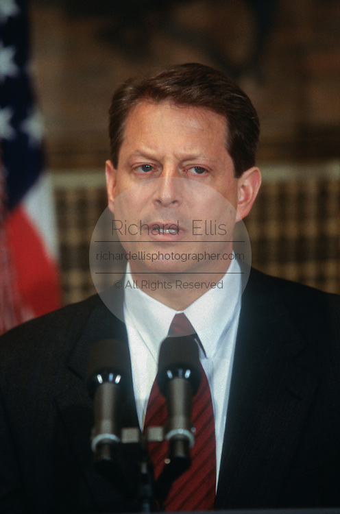 WASHINGTON, DC, USA - 1997/04/01: U.S. Vice-President Al Gore gives a statement on keeping liquor advertisement off television with President Bill Clinton in the Roosevelt Room the White House April 1, 1997 in Washington, DC.   (Photo by Richard Ellis)