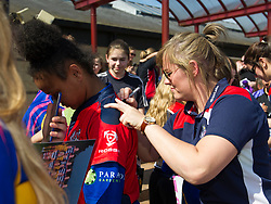England flanker Marlie Packer signs a young fan's shirt - Mandatory by-line: Paul Knight/JMP - 09/04/2017 - RUGBY - Cleve RFC - Bristol, England - Bristol Ladies v Saracens Women - RFU Women's Premiership Play-off Semi-Final