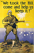 We took the Hill, come and help us keep it!  Australian World War I recruitment poster, 1915, possibly referring to Gallipoli campaign (Dardanelles). H J Watson (1874-1938) Australian artist. Soldier Dead Wounded  Sea Bombardment