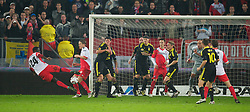 UTRECHT, THE NETHERLANDS - Thursday, September 30, 2010: Liverpool's Jamie Carragher and Martin Skrtel block a shot from FC Utrecht's Jacob Mulenga during the UEFA Europa League Group K match at the Stadion Galgenwaard. (Photo by David Rawcliffe/Propaganda)