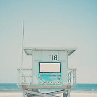 A blue lifeguard tower on Santa Monica Beach, California.