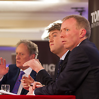 Clare TD for Labour, Michael McNamara and Vincent Browne answer questions from the floor during the the People's Debate at the Auburn Lodge Hotel on Friday 16th January
