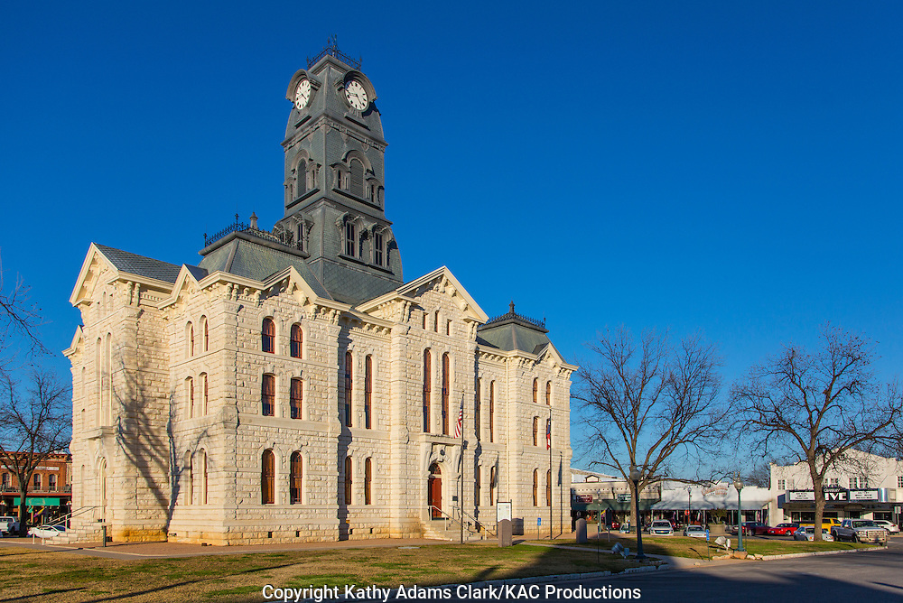 The Hood County Courthouse in Granbury, Texas, was built in 1890 in the Second Empire Style.