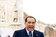 Roma 24 Maggio 2013.Silvio Berlusconi  chiude la campagna elettorale  per  Gianni Alemanno  sindaco uscente di Roma e  ricandidato per un nuovo mandato per il Popolo delle Libertà, per le elezioni comunali  che si terranno il 26-27 Maggio. Silvio Berlusconi