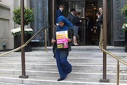 London, April 28th 2017. Anti-discrimination protesters disrupt the launch of UKIP's election campaign at the Marriot County Hall in Westminster. PICTURED: A Muslim protester emerges from the venue of the UKIP launch.<br /> Credit: ©Paul Davey
