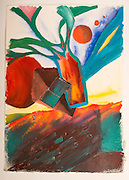 There are various fields of existence (acrylic and watercolor on rag paper) by Mark Hiebert (15.75 x 22.5 inches, $450)