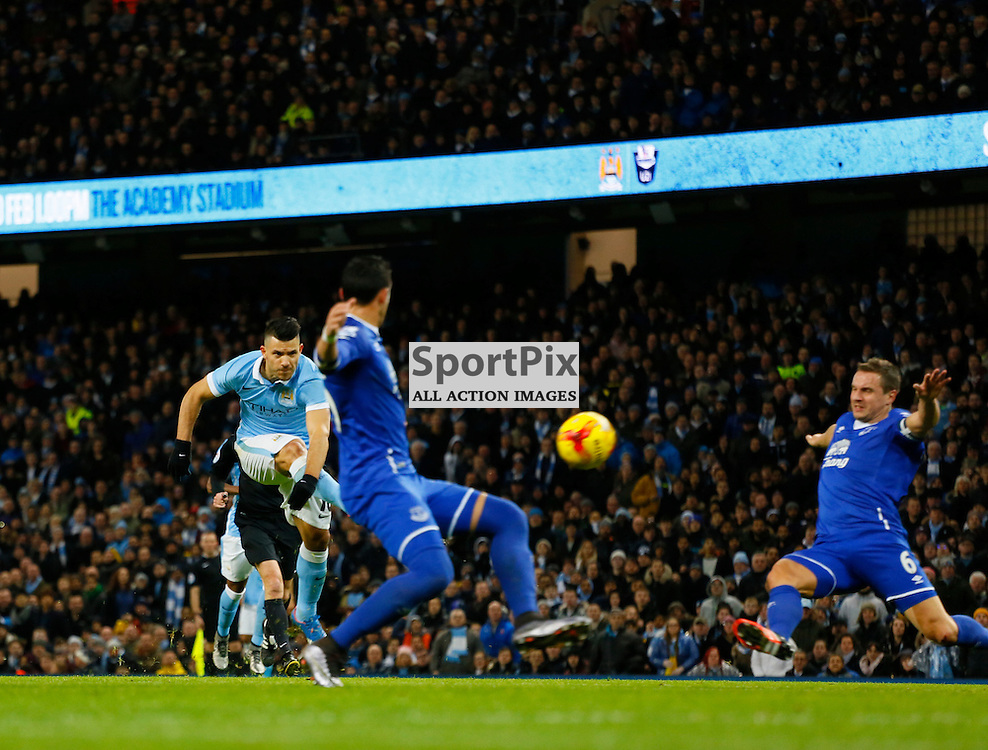 Sergio Aguero shoots during Manchester City vs Everton, Captial One Cup, Wednesday 27th January 2016, Etihad Stadium, Manchester