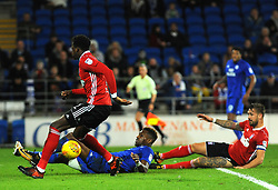 Omar Bogle of Cardiff City is fouled by Dominic Iorfa of Ipswich Town of Cardiff City- Mandatory by-line: Nizaam Jones/JMP - 31/10/2017 -  FOOTBALL - Cardiff City Stadium- Cardiff, Wales -  Cardiff City v Ipswich  Town- Sky Bet Championship