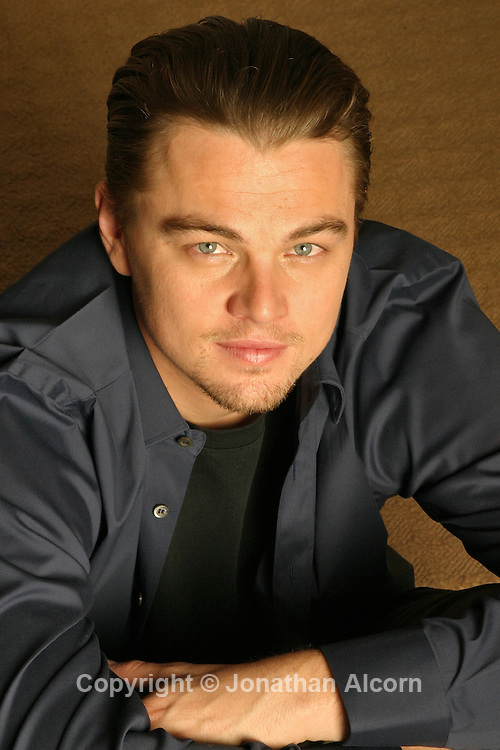 """Actor Leonard DiCaprio poses for a portrait during a  press tour for the film """"Aviator"""" at the Beverly WIlshire Hotel on December 2, 2004."""