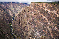 A view of the Painted Wall and the Gunnison River from Cedar Point along the South Rim.   Black Canyon of the Gunnison National Park, Colorado.