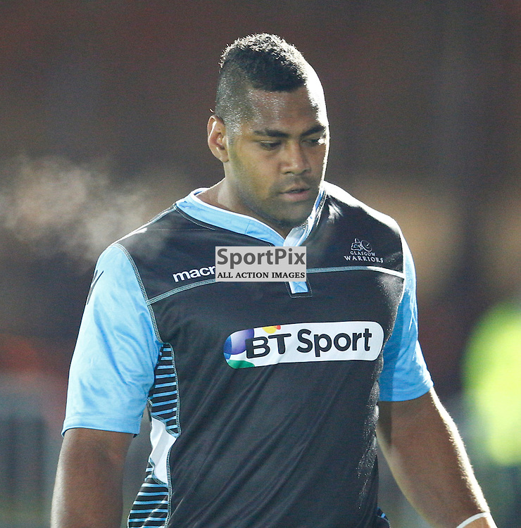 GUINESS PRO 12 - Glasgow Warriors v Dragons....Taqele Naiyaravoro warms up before the game....(c) STEPHEN LAWSON | SportPix.org.uk