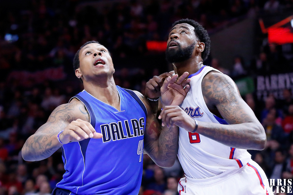 10 January 2014: Dallas Mavericks forward Greg Smith (4) vies for the rebound with Los Angeles Clippers center DeAndre Jordan (6) during the Los Angeles Clippers 120-100 victory over the Dallas Mavericks, at the Staples Center, Los Angeles, California, USA.