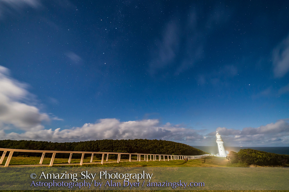 The Southern Cross (upper left) and Pointer Stars (below) in the moonlight over the Cape Otway Lighthouse, on the Great Ocean Road in Victoria, Australia. Illumination is from the nearly Full Moon behind the camera.<br /> <br /> The Lighthouse was built in 1848 and served as a landfall light from arriving immigrant ships, the first light they would see after a long sea voyage. The main tower is no longer lit; a smaller beacon behind the tower serves as the light now. <br /> <br /> This is a blend of two exposures, a 6-second exposure for the main scene and a shorter 1/15-second exposure for the Lighthouse itself to prevent it from being overexposed, due to it being floodlit by lamps.