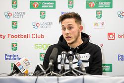 Josh Brownhill speaks in the pre match press conference ahead of Bristol City's Carabao Cup Quarter Final against Manchester United - Rogan/JMP - 18/12/2017 - Ashton Gate Stadium - Bristol, England - Bristol City v Manchester United - Carabao Cup Quarter Final.