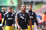 AFC Wimbledon defender Darius Charles (32) warming up during the EFL Sky Bet League 1 match between Charlton Athletic and AFC Wimbledon at The Valley, London, England on 28 October 2017. Photo by Matthew Redman.