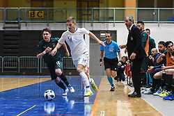 Murilo Ferreira Juliao of Italy and Matej Fidersek of Slovenia during futsal friendly match between National teams of Slovenia and Italy, on December 3, 2019 in Maribor, Slovenia. Photo by Milos Vujinovic / Sportida