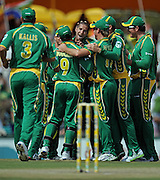 Tha SA team celebrates after Wayne Parnell trapped Michael Hussey LBW to put Australia 19 for 5 after 7 overs. <br /> Cricket - 090405 - 2nd ODI - South Africa vs Australia - Supersport Park - Centurion - Pretoria on Sunday 05 April 2009.<br /> Photographer : Anton de Villiers / SASPA