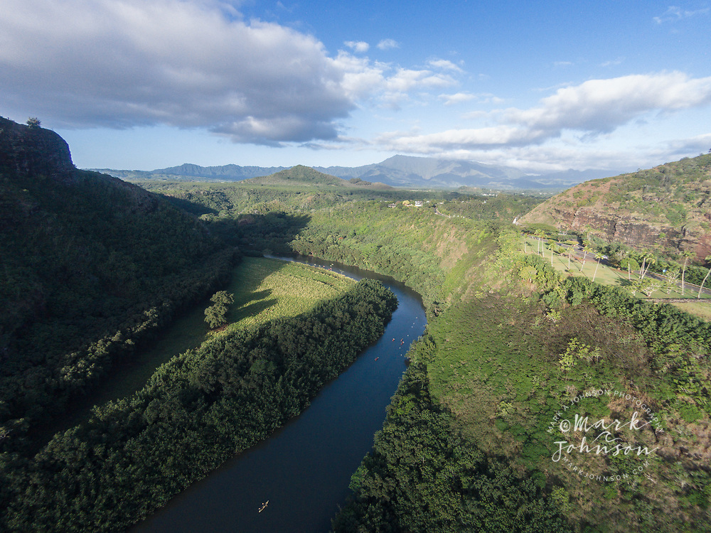 Aerial photograph of kayaking on the Wailua River, Kauai, Hawaii