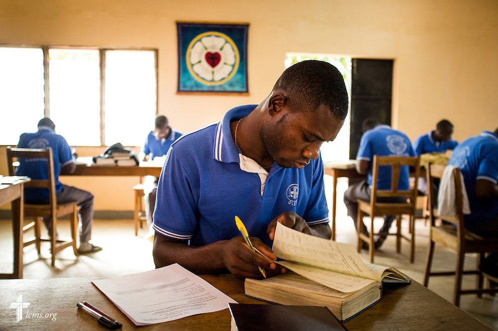 A student takes an exam at the Lutheran Center for Theological Studies (CLET) on Wednesday, Feb. 15, 2017, in Dapaong, Togo. LCMS Communications/Erik M. Lunsford