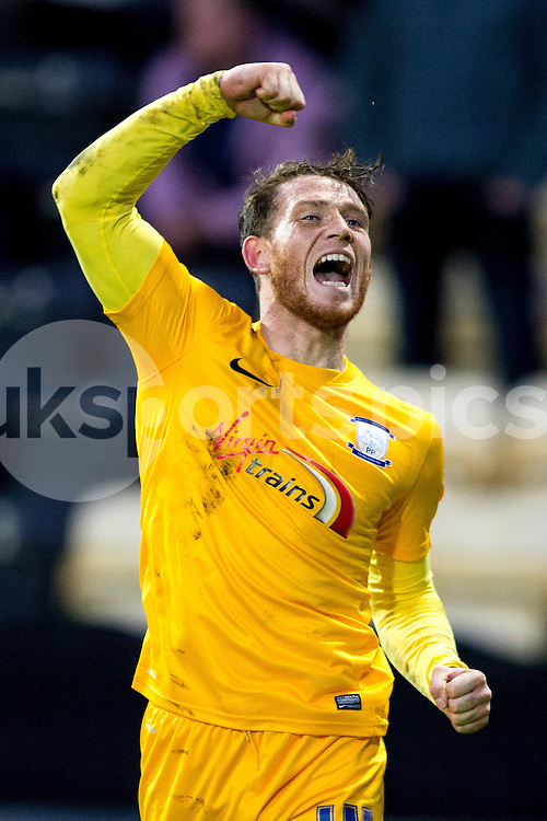 Preston North End's Joe Garner shows his delight after making it 2-0 during the Sky Bet League 1 match between Notts County and Preston North End at Meadow Lane, Nottingham, England on 21 April 2015. Photo by James Williamson.