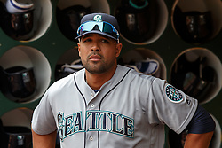 OAKLAND, CA - MAY 04: Franklin Gutierrez #21 of the Seattle Mariners stands in the dugout before the game against the Oakland Athletics at the Oakland Coliseum on May 4, 2016 in Oakland, California. The Seattle Mariners defeated the Oakland Athletics 9-8. (Photo by Jason O. Watson/Getty Images) *** Local Caption *** Franklin Gutierrez