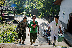 Laiza 20160915<br /> Lazum Htoi San, a K.I.A. rebell injured in a Burmese army shelling of Tsin Yu Bum, a mountain top with a frontline outpost, arriving at the army hospital in Laiza, Kachin State, Myanmar.<br /> Photo: Vilhelm Stokstad / Kontinent