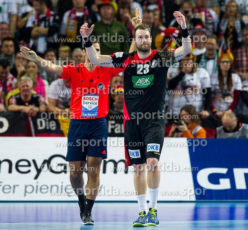 20.01.2016, Jahrhunderthalle, Breslau, POL, EHF Euro 2016, Deutschland vs Slowenien, Gruppe C, im Bild Steffen Faeth (Nr. 23, HSG Wetzlar) bekommt eine Zweiminutenstrafe // during the 2016 EHF Euro group C match between Germany and Slovenia at the Jahrhunderthalle in Breslau, Poland on 2016/01/20. EXPA Pictures &copy; 2016, PhotoCredit: EXPA/ Eibner-Pressefoto/ <br /> <br /> *****ATTENTION - OUT of GER*****