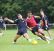 Dundee new boy Daryll Meggatt tackles Luka Tankulic in training - Dundee pre-season training at University grounds, Riverside<br /> <br />  - &copy; David Young - www.davidyoungphoto.co.uk - email: davidyoungphoto@gmail.com