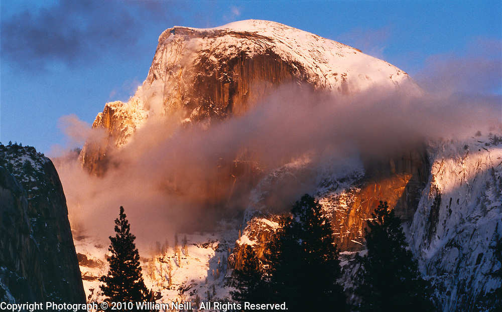 Winter sunset on Half Dome, Yosemite National Park, California