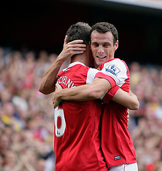 11.09.2010, Emirates Stadium, London, ENG, PL, FC Arsenal vs Bolton Wanderers, im Bild Arsenal's Laurent Koscielny  makes 1-0 and celebrates with Arsenal's Sebastien Squillaci      during Arsenal fc vs Bolton Wfc. EXPA Pictures © 2010, PhotoCredit: EXPA/ IPS/ Marcello Pozzetti +++++ ATTENTION - OUT OF ENGLAND/UK +++++ / SPORTIDA PHOTO AGENCY