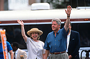 DYERSBURG, TN - August 31: US President Bill Clinton and wife Hillary wave during a campaign stop on their bus tour August 31, 1996 in Dyersburg, TN.     (Photo Richard Ellis)
