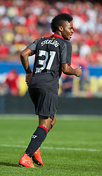 CHICAGO, USA - Sunday, July 27, 2014: Liverpool's Raheem Sterling in action against Olympiacos during the International Champions Cup Group B match at the Soldier Field Stadium on day seven of the club's USA Tour. (Pic by David Rawcliffe/Propaganda)