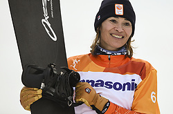 PYEONGCHANG, March 12, 2018  Bibian Mentel-Spee from the Netherlands celebrates during the awarding ceremony for the Women's Snowboard Cross SB-LL2 event at the 2018 PyeongChang Winter Paralympic Games at Jeongseon Alpine Centre, South Korea, March 12, 2018. Bibian Mentel-Spee claimed the title of the event. (Credit Image: © Xia Yifang/Xinhua via ZUMA Wire)