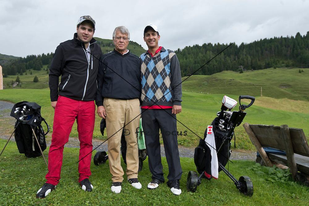 06.Aug.2012; Arosa; Eishockey - Swiss Ice Hockey Golf Trophy 2012;<br /> Remo Hegglin, Peter Bergmann, Thomas Schuler (Andy Mueller/freshfocus)