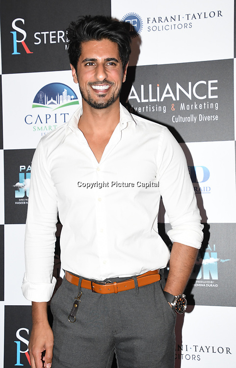 "Asad Shan attend Photocall in London Premiere of ""Parwaaz Hai Junoon"" (Soaring Passion) as featured on SKY, ITV at The May Fair Hotel, Stratton Street, London, UK. 22 August 2018."